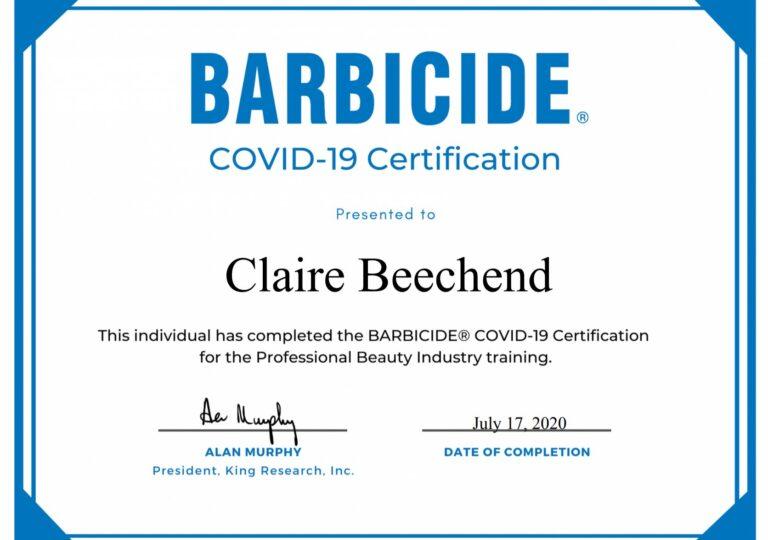 Claire Beechend - Barbicide Certificate